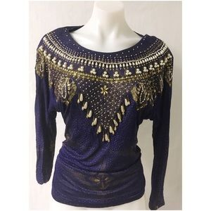 Blue/ Gold Vintage Beaded Top Size Large